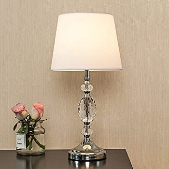 Popilion decorative chrome living room bedside crystal table lamptable lamps with white fabric shade for bedroom living room coffee desk lamp