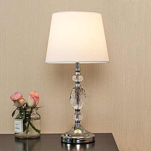 POPILION Decorative Chrome Living Room Bedside Crystal Table Lamp,Table Lamps With White Fabric Shade for Bedroom Living Room Coffee Desk Lamp (Shade Lamp Fabric White Table)