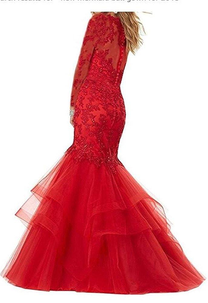 Red Ai Maria Women's Long Sleeve Mermaid Lace Dress
