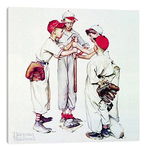 26  x 26  iCanvasART 1-Piece Choosing up 'Four Sporting Boys  Baseball' Canvas Print by Norman Rockwell, 0.75 by 37 by 37-Inch