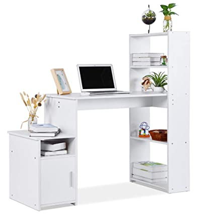 Amazing Lv Life Computer Desk Student Pc Workstation Laptop Table And Storage Unit Combo Ideal Desktop For Any Size Computers And Laptops White Download Free Architecture Designs Scobabritishbridgeorg