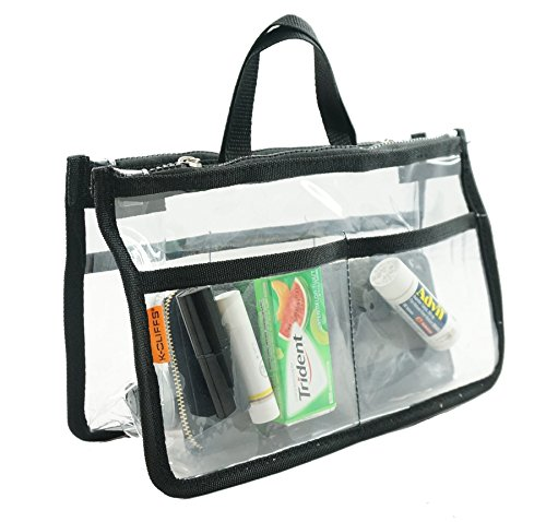 Clear Handbag Organizer See Through Cosmetic Badget Insert Purse Organiser Transparent Travel Pouch Shaving Toiletry Bag Liner with handle - Transparent Pouch