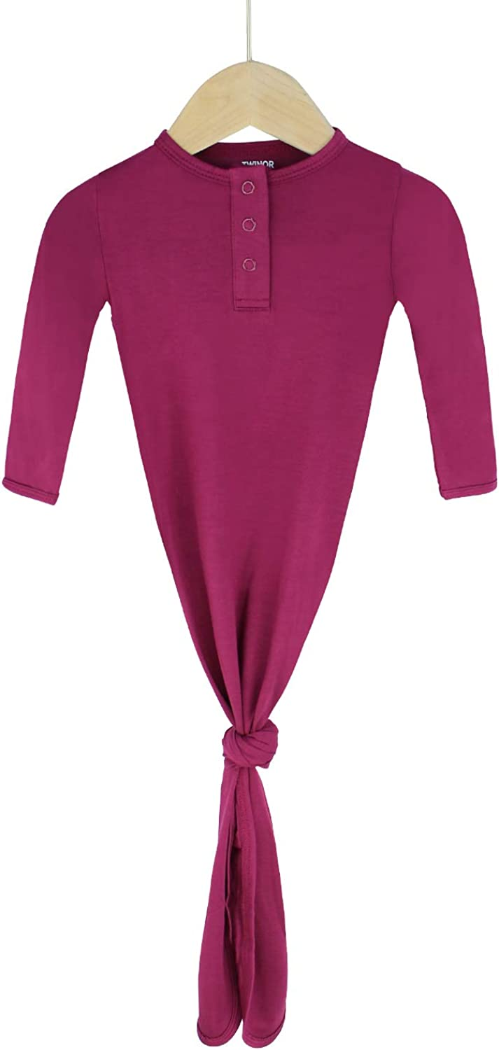 TWINOR Knotted Baby Gown Long Sleeve Baby Sleeping Bags Super Soft Bamboo Nightgowns Purple