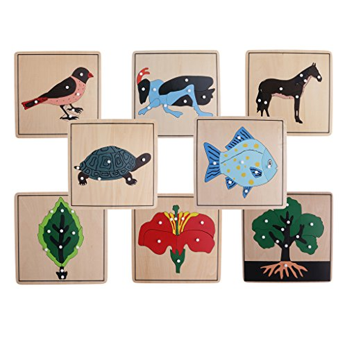 MagiDeal 8 Montessori Animal Plant Shape Puzzles for Kids Early Learning Wooden Educational Toys (Animal Shapes Puzzle)