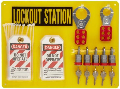 Brady Padlock, Hasp, and Tag Lockout Station, Includes 5 Steel Padlocks by Brady
