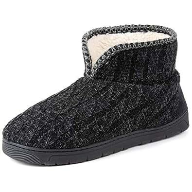 RockDove Men's Sweater Knit Bootie Slipper with Memory Foam, Size 8-9 US Men, Black