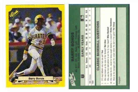 1987 Classic Barry Bonds Rookie Baseball Card Error At