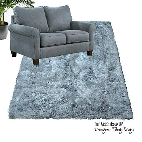 Shag Carpet - Extraordinary Faux Fur Rug - Accent - Area Rug - Throw Rug and Design - Hand Made in The USA (5'x10', Gray)