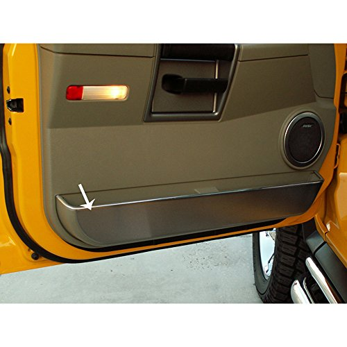 Upgrade Your Auto 2pc Brushed Stainless Steel Front Door Guards for 2003-2007 Hummer H2 ()