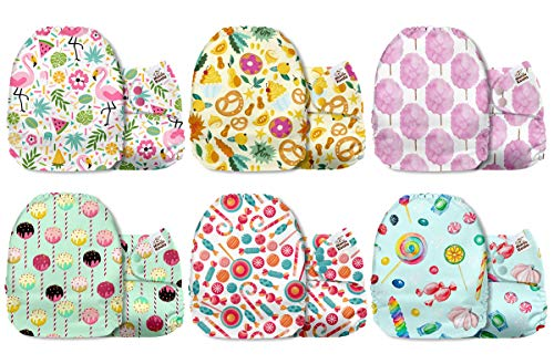 Mama Koala One Size Baby Washable Reusable Pocket Cloth Diapers, 6 Pack Nappies with 6 One Size Microfiber Inserts (Sweet Moments)