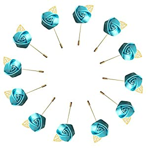 WeddingBobDIY 12Pieces/lot Groom Boutonniere Wedding Silk Rose(3.5cm) Flowers Accessories Prom Pin Man Suit Decoration Blue