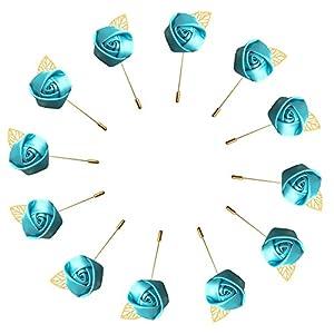 WeddingBobDIY 12Pieces/lot Groom Boutonniere Wedding Silk Rose(3.5cm) Flowers Accessories Prom Pin Man Suit Decoration Blue