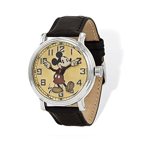 Disney Adult Size Black Lthr w/Moving Arms Mickey Mouse Watch
