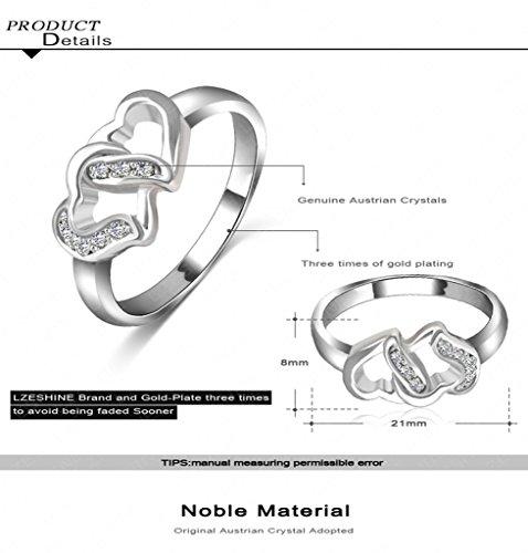 Beydodo Alloy Rings (Wedding-bands) For Women Double Heart Shaped Size US 6.5