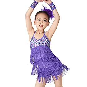 - 51 cFvS5ioL - MiDee Latin Dress Dance Costume 3 Colors Camisole Sequins Tassels Skirt for Girls