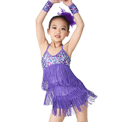 Dancing On Ice Costumes For Kids (MiDee Latin Dress Dance Costume 3 Colors Camisole Sequins Tassels Skirt For Girls (IC, Purple))