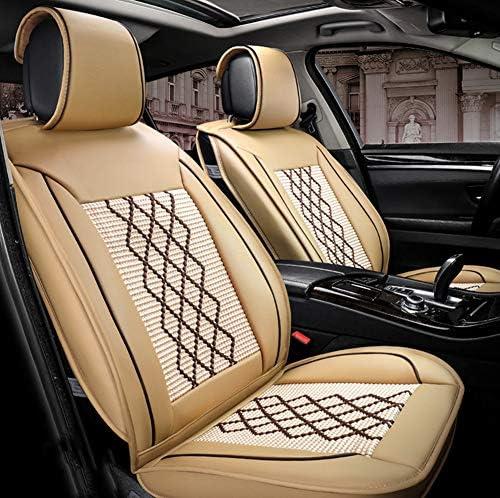 Wear-Resistant Leder und atmungs Leinen Auto Autositzbezüge 5 Sitze Full Set Universal-Fit, geeignet für die meisten PKW, LKW,Beige