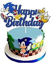 غطاء كعكة عيد ميلاد سعيد من Blue Hedgehog ، لوازم تزيين كعكة حفلات أعياد الميلاد سونيك لأعياد ميلاد الأطفال ، زينة كعكة القنفذ ذات الوجهين اللامع