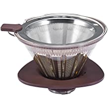 Clever Coffee Dripper, Double Stainless Steel Mesh Reusable Coffee Filter with Shut-Off Valve and Removable Cup Stand