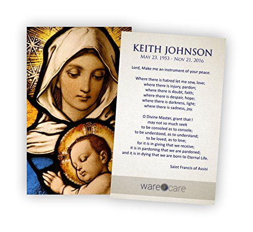 Service Prayer Cards (Pack of 50) (Madonna & Child) (Madonna Card)