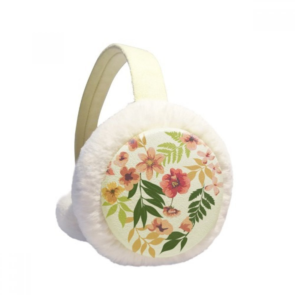Flowers Leaves Drawing Watercolor Winter Earmuffs Ear Warmers Faux Fur Foldable Plush Outdoor Gift