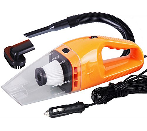 Yacn Canister Handle Vacuum Cleaner for Car Dust Buster Web and Dry, Corded,12V,120W, High Power (Orange)