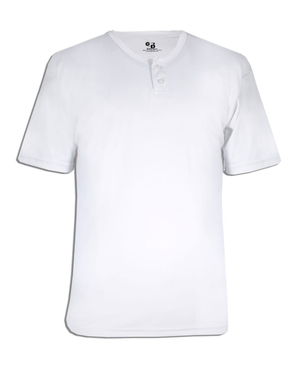 Badger B-Core Adult Placket Jersey, White, Large
