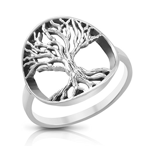 Sterling Silver Tree Of Life Ring - Size 8