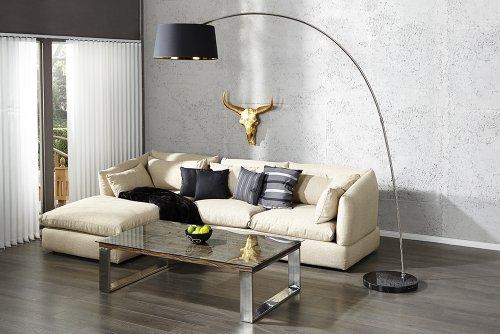 Design Stehleuchte FORMA schwarz gold Bogenlampe