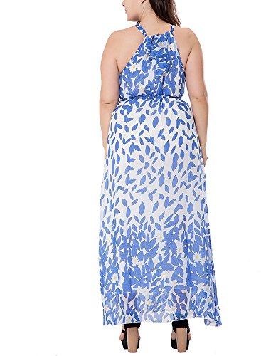 Leaf Dress Floral Beach Size Sleeveless Maxi Belt Summer Women Print Halter Bewish Plus Neck Bow xqH7ItwEA