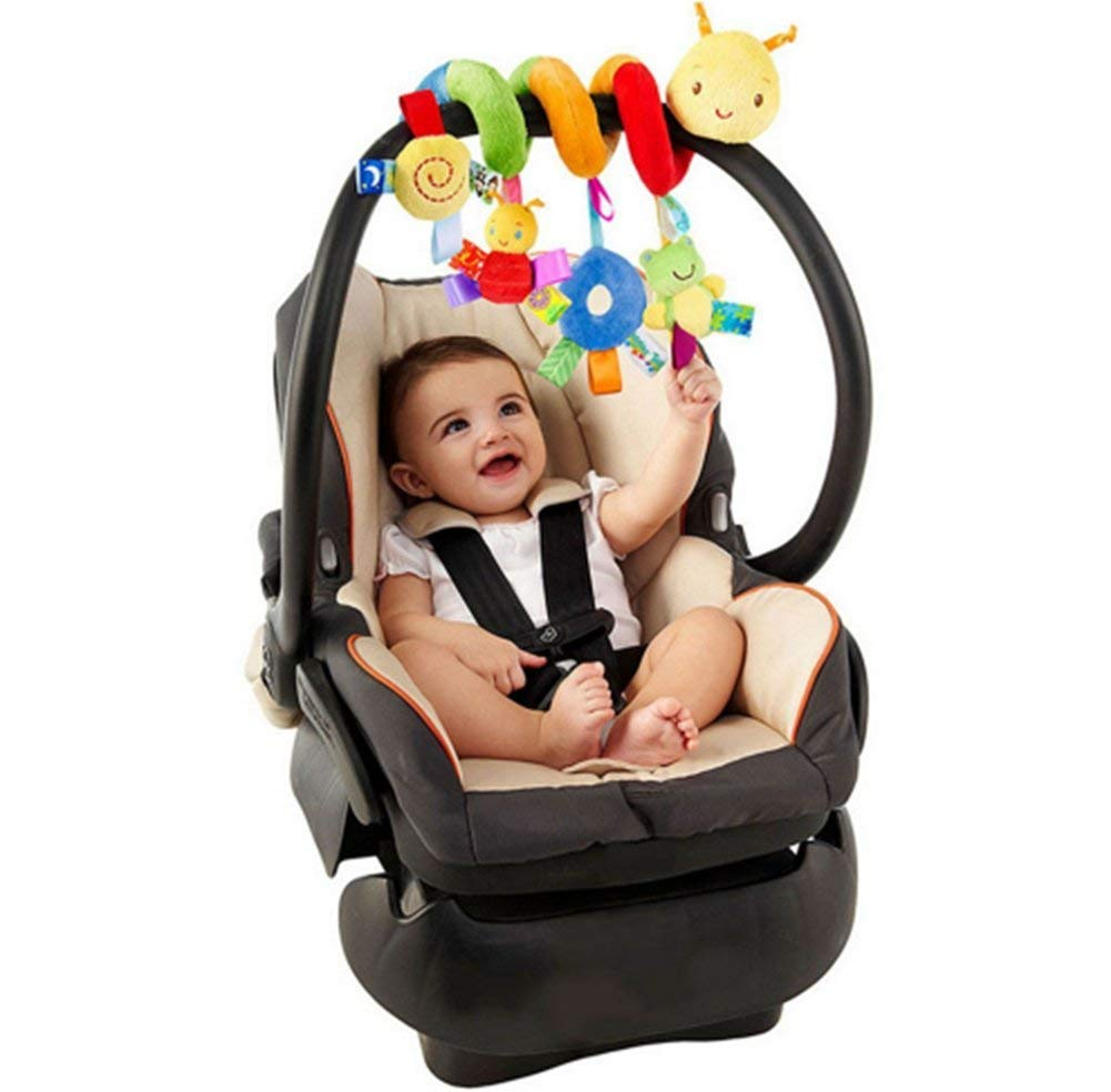 LILITRADE Giraffe with Four Birds Hanging Spiral Toy Bright Color Sense Developmental Education Activity Interactive Bell Sound Rattles Toy for Kids Baby Pushchairs Car Seat Crib Cot Pram
