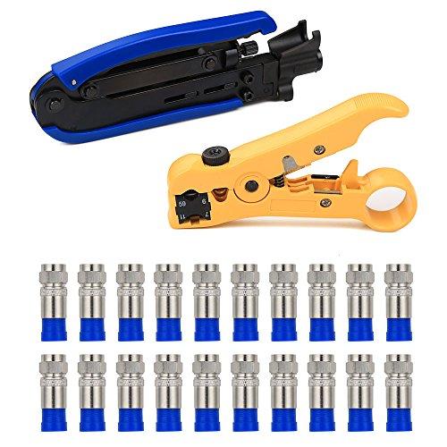 Coaxial Compression Tool,KISENG Coax Cable Crimper Kit Adjustable RG6 RG59 RG11 Coaxial Cable Stripper with 20 PCS F Connectors