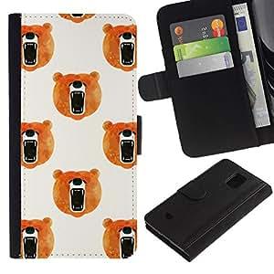All Phone Most Case / Oferta Especial Cáscara Funda de cuero Monedero Cubierta de proteccion Caso / Wallet Case for Samsung Galaxy S5 Mini, SM-G800 // blanco naranja rugido acuarela soportar
