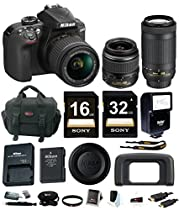 Nikon D3400 DSLR Camera with 18-55 and 70-300mm Nikkor Lenses + promotional Holiday Kit