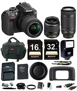 Nikon D3400 DSLR Camera with 18-55 and 70-300mm Nikkor Lenses + promotional Holiday Kit