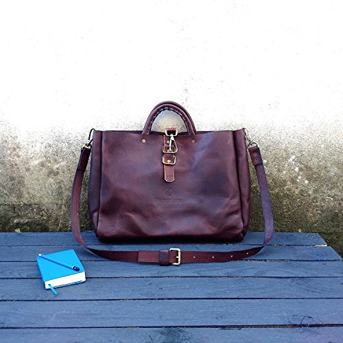 """TWL Tote Leather Messenger Bag """"Harvard"""" Hand Bag Full Grain Leather Postman Bags Travel Job's The Westlands Made in Italy Leather Handmade"""