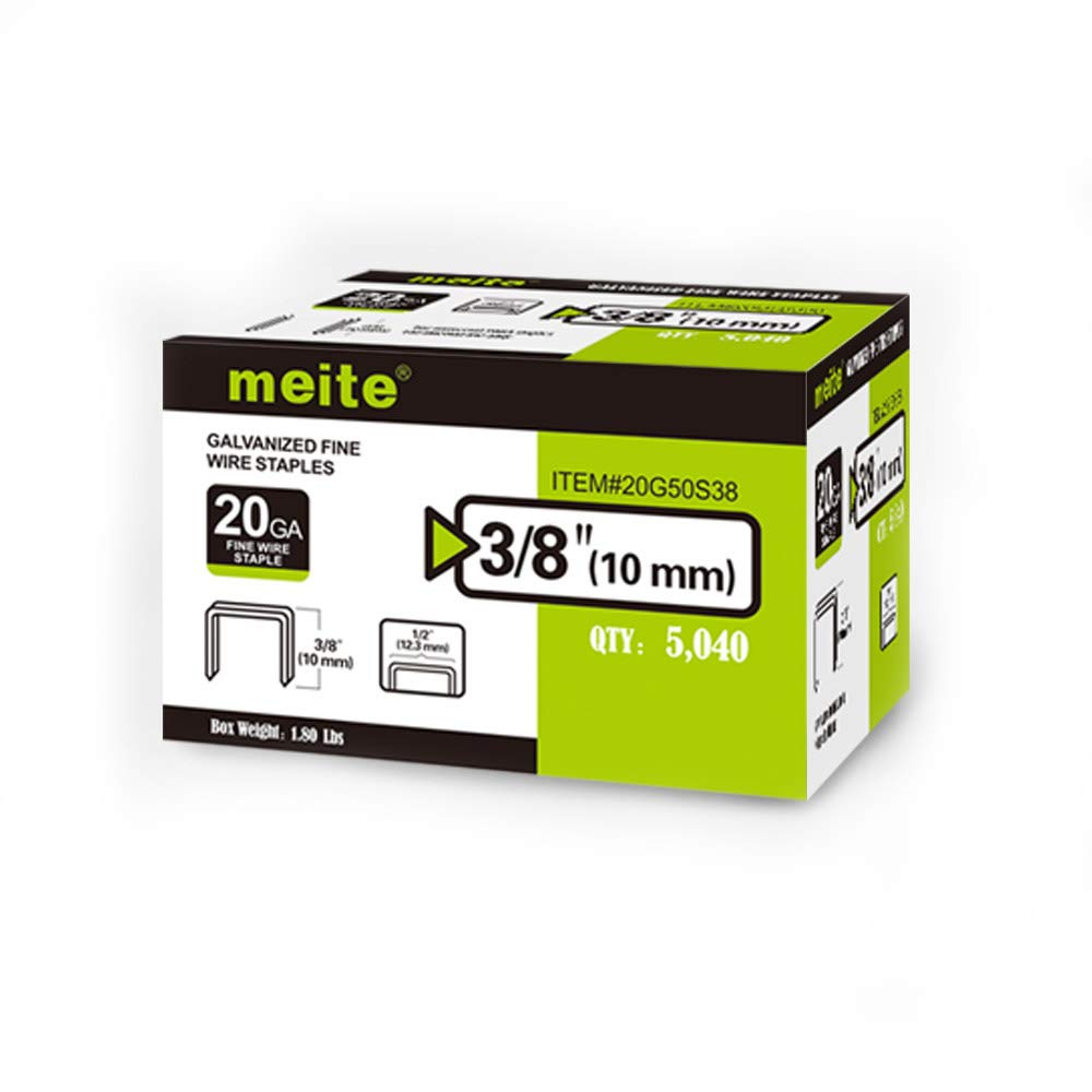 meite 20 Guage 50 Series 1/2-Inch Crown by Leg Length 3/8-Inch Galvanized Fine Wire Staples(5000pcs/Box) (1-Box Pack)