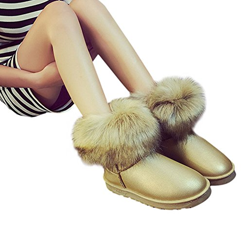 Fluffy Femmes Chaud Neige Bottines Dames Dcontract Plate Hiver Confortable Bottes Chaussure Fausse Jaune Fuyingda Fourrure YqTRan