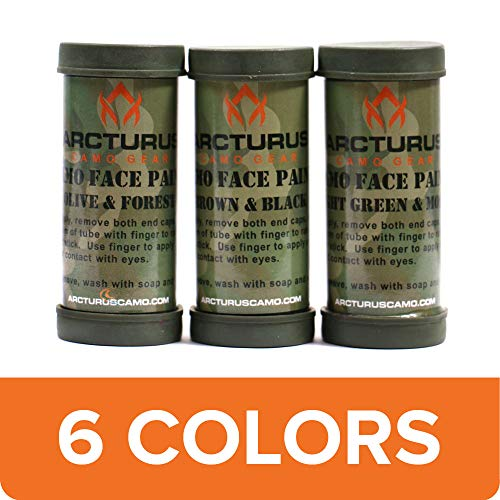 Halloween Face Paint Man Easy (Arcturus Camo Face Paint Sticks - 6 Camouflage Colors in 3 Double-Sided Tubes for Hunting or Military)