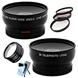 SaveOn Professional HD Wide Angle and Telephoto Lens + Multi-Coated 3pc Filter Kit + Macro Close-Up Filter Set + Complete Lens Cleaning Kit w/ Microfiber Cleaning Cloth for Kodak P712,P850 Digital Cameras
