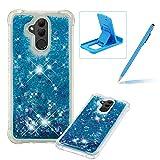 Liquid Case for Huawei Mate 20,Soft TPU Glitter Case for Huawei Mate 20,Herzzer Luxury 3D Sequins Creative Blue Love Hearts Design Floating Quicksand Clear Rubber Case