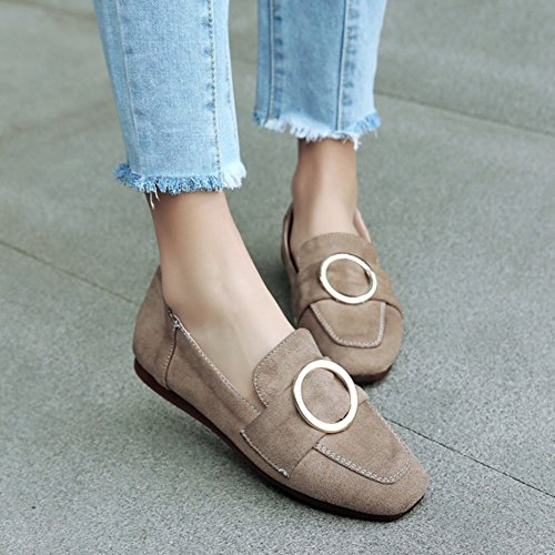 Aisun Damen Oxford Nubuk Kunstleder Metallic Ring Riemchen Low Top Flach Ballerinas Aprikosenfarben