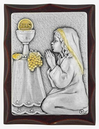 Communion Girl Plaque - Hand-Carved First Communion Keepsake Plaque (Girl)