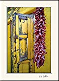11 x 14 inch mat including photograph of Yellow wooden window shutters with dried red peppers hanging on Southwest yellow adobe wall in the old Barrio historic section of Tucson, AZ