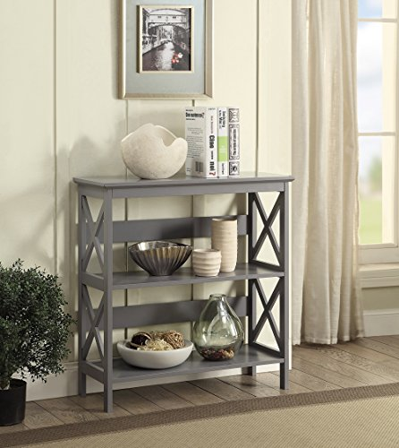 Convenience Concepts Oxford 3-Tier Bookcase, Gray by Convenience Concepts