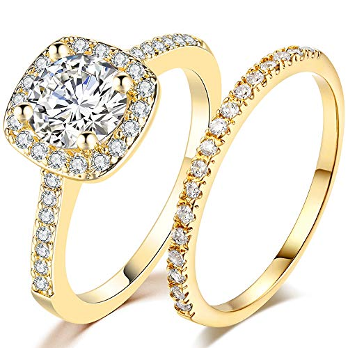 Gold Wedding Ring Sets - Jude Jewelers Silver Rose Gold 1.5 Carat Wedding Engagement Eternity Bridal Ring Set (Gold, 7.5)
