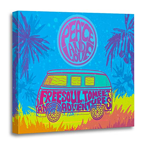 Emvency Painting Canvas Print Wooden Frame Artwork Hippie Vintage Car Mini Van Ornamental Love and Music Fonts Doodle Hippy Color Decorative 16x16 Inches Wall Art for Home Decor (Hippy Van)