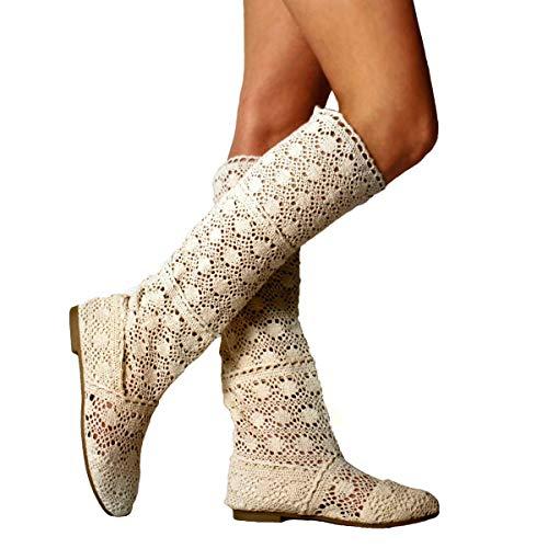 Respirable Alto Platform Zapatos Hueco Redonda a Toe Verano de Boots Encaje Sandalias Mujer Beige Malla Oto Cu o Botas APxSw