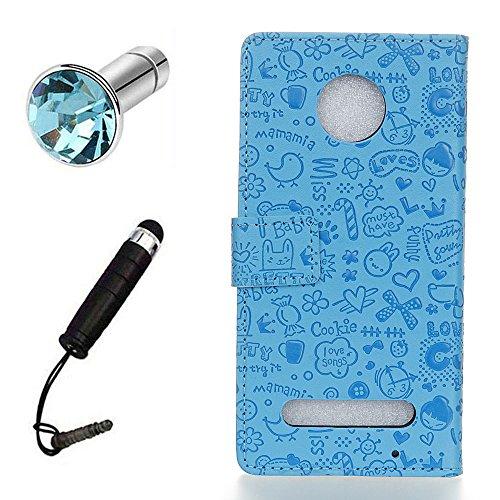 Lusee® PU Caso de cuero sintético Funda para Motorola Moto Z2 Cubierta con funda de silicona botón pequeña bruja lilac pequeña bruja azul
