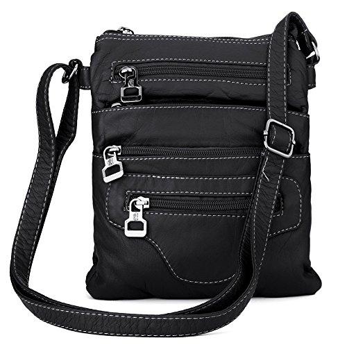 Lightweight Leather Handbag Crossbody Messenger Bag Shoulder Bag for Women Men (black)